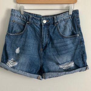 Pants - Mom High Rise Demin Jean Shorts